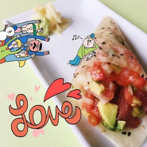 Photo: ヽ(꒪♡꒪) two worlds collide in this seafood ceviche hand roll! it's got everyone going wild! (you can find this roll at sushistop izakaya!)