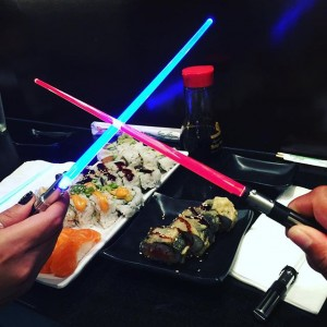 Photo: The battle begins between the force and the dark side…over sushi #starwars #chopsticks #sushi #sushistop #dope