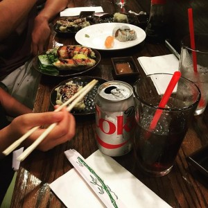 Photo: When you already had your meals, and @ginaaa_73 asks you to go to #sushistop with her… I'll just have a diet #coke thanks #fit…